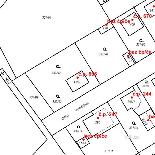 Katastrální mapa Stavební objekt Heřmanice 666, Ostrava
