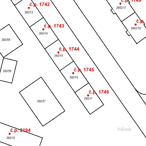 Katastrální mapa Stavební objekt Místek 1745, Frýdek-Místek