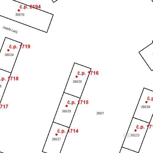 Katastrální mapa Stavební objekt Místek 1716, Frýdek-Místek