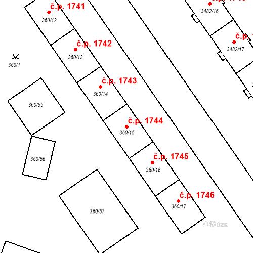 Katastrální mapa Stavební objekt Místek 1744, Frýdek-Místek