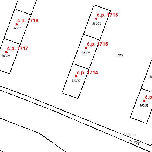 Katastrální mapa Stavební objekt Místek 1714, Frýdek-Místek
