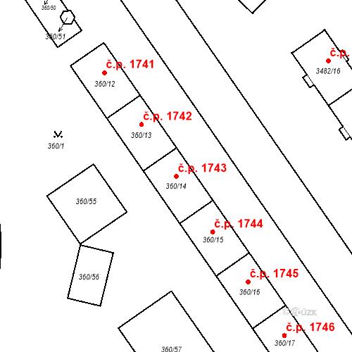 Katastrální mapa Stavební objekt Místek 1743, Frýdek-Místek