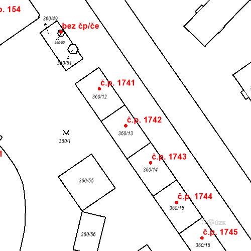 Katastrální mapa Stavební objekt Místek 1742, Frýdek-Místek