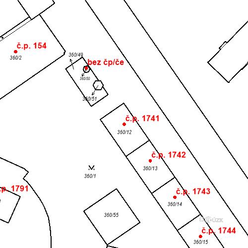 Katastrální mapa Stavební objekt Místek 1741, Frýdek-Místek