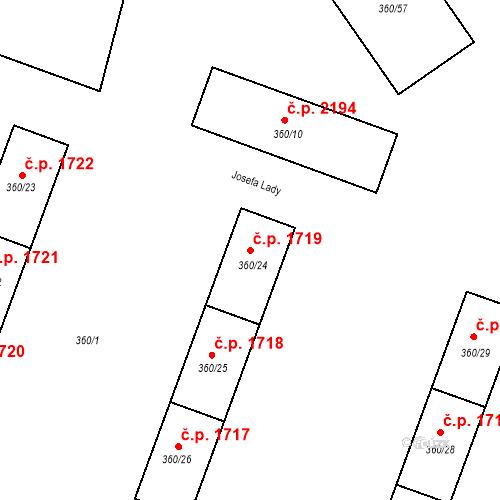 Katastrální mapa Stavební objekt Místek 1719, Frýdek-Místek