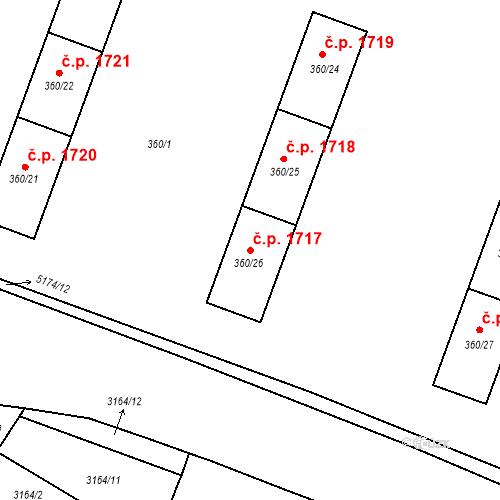 Katastrální mapa Stavební objekt Místek 1717, Frýdek-Místek