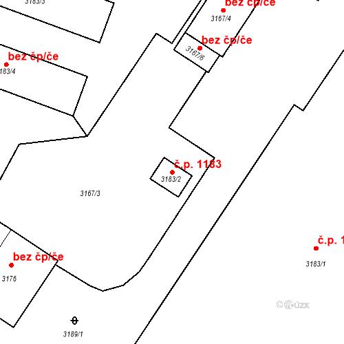 Katastrální mapa Stavební objekt Místek 1183, Frýdek-Místek