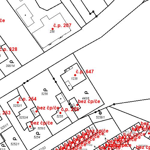 Katastrální mapa Stavební objekt Heřmanice 647, Ostrava