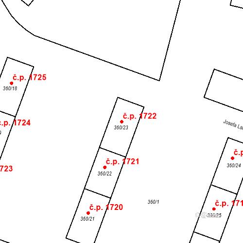 Katastrální mapa Stavební objekt Místek 1722, Frýdek-Místek