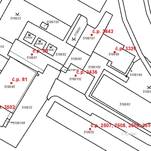 Katastrální mapa Stavební objekt Frýdek 3436, Frýdek-Místek