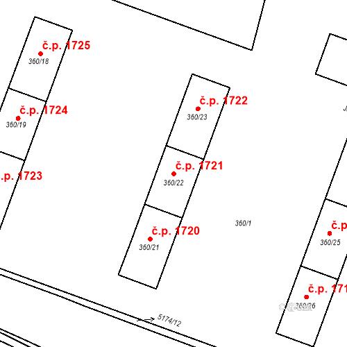 Katastrální mapa Stavební objekt Místek 1721, Frýdek-Místek