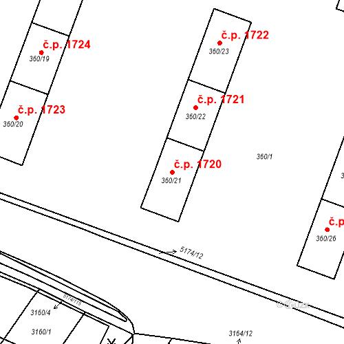 Katastrální mapa Stavební objekt Místek 1720, Frýdek-Místek