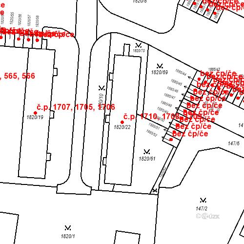 Katastrální mapa Stavební objekt Místek 1708, 1709, 1710, Frýdek-Místek
