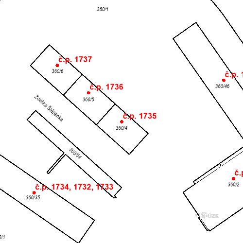 Katastrální mapa Stavební objekt Místek 1735, Frýdek-Místek