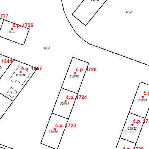 Katastrální mapa Stavební objekt Místek 1725, Frýdek-Místek