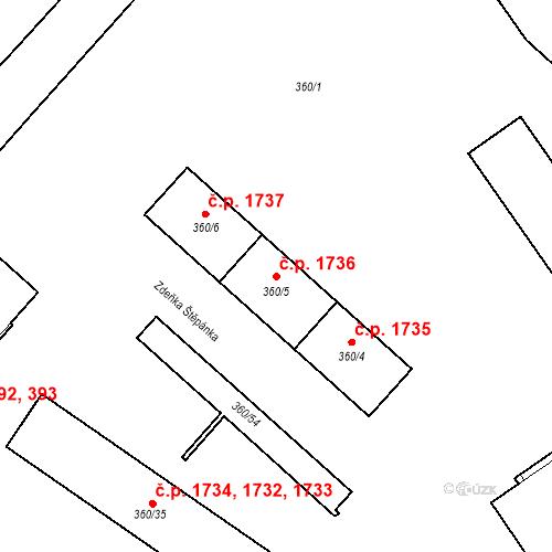 Katastrální mapa Stavební objekt Místek 1736, Frýdek-Místek