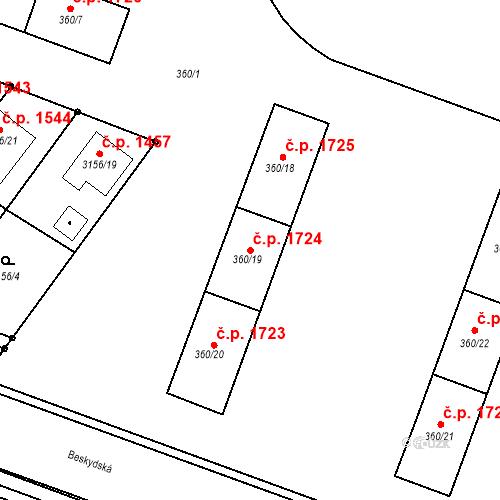 Katastrální mapa Stavební objekt Místek 1724, Frýdek-Místek