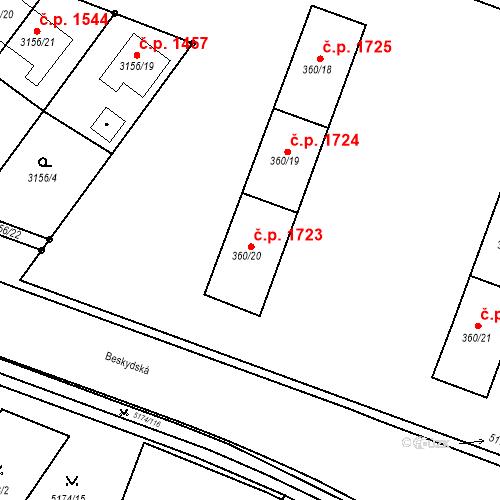 Katastrální mapa Stavební objekt Místek 1723, Frýdek-Místek