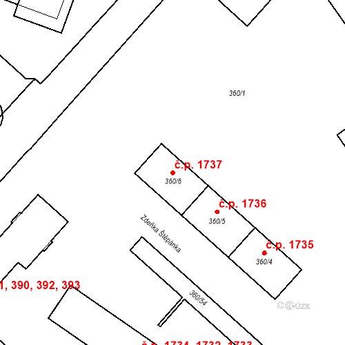 Katastrální mapa Stavební objekt Místek 1737, Frýdek-Místek