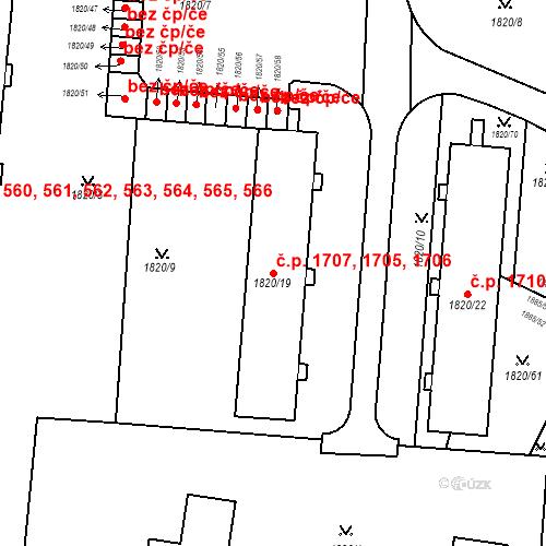 Katastrální mapa Stavební objekt Místek 1705, 1706, 1707, Frýdek-Místek