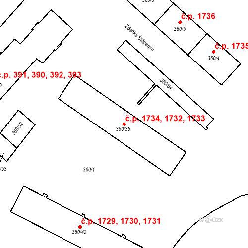 Katastrální mapa Stavební objekt Místek 1732, 1733, 1734, Frýdek-Místek