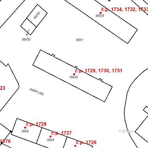 Katastrální mapa Stavební objekt Místek 1729, 1730, 1731, Frýdek-Místek