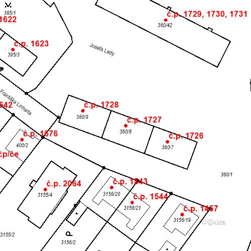 Katastrální mapa Stavební objekt Místek 1727, Frýdek-Místek
