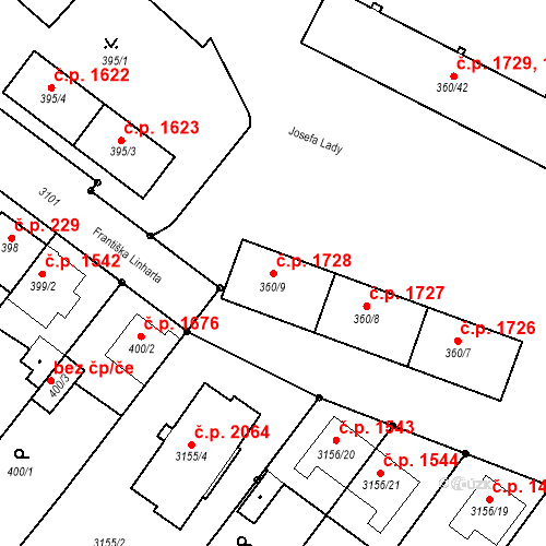 Katastrální mapa Stavební objekt Místek 1728, Frýdek-Místek