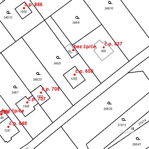 Katastrální mapa Stavební objekt Heřmanice 659, Ostrava