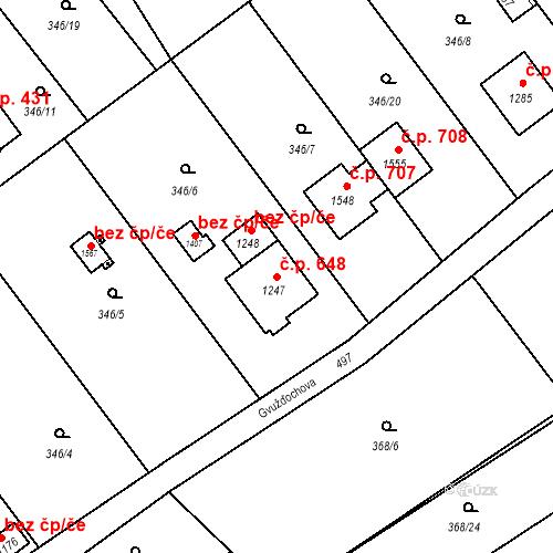 Katastrální mapa Stavební objekt Heřmanice 648, Ostrava