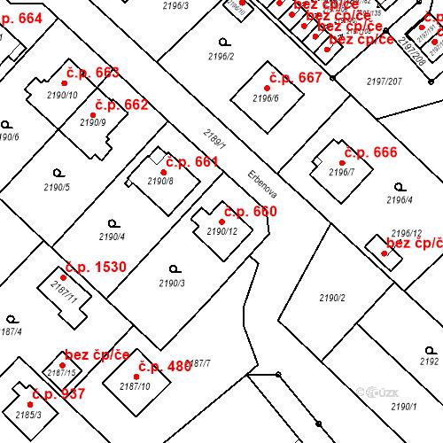 Katastrální mapa Stavební objekt Místek 660, Frýdek-Místek