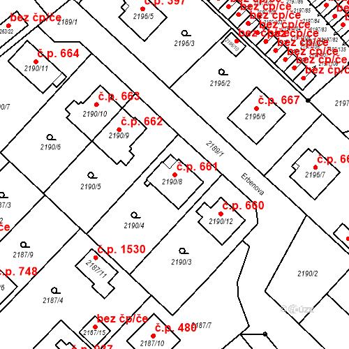 Katastrální mapa Stavební objekt Místek 661, Frýdek-Místek