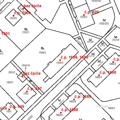 Katastrální mapa Stavební objekt Místek 1698, 1699, Frýdek-Místek