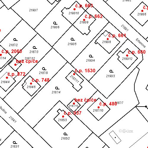 Katastrální mapa Stavební objekt Místek 1530, Frýdek-Místek