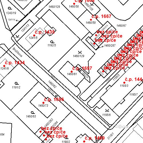 Katastrální mapa Stavební objekt Místek 1697, Frýdek-Místek