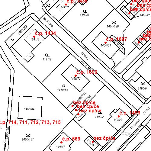 Katastrální mapa Stavební objekt Místek 1696, Frýdek-Místek