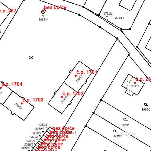 Katastrální mapa Stavební objekt Místek 1701, Frýdek-Místek