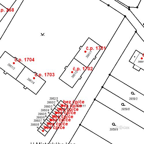 Katastrální mapa Stavební objekt Místek 1702, Frýdek-Místek