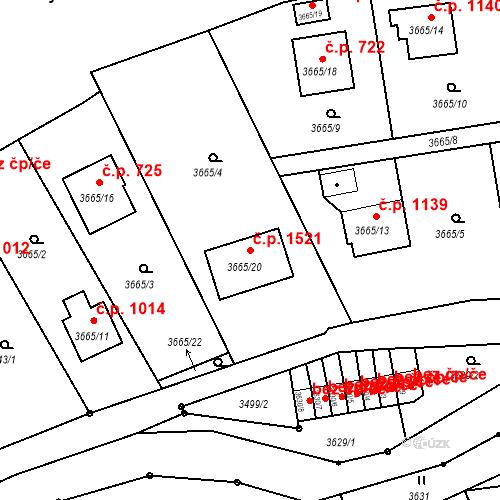 Katastrální mapa Stavební objekt Frýdlant 1521, Frýdlant nad Ostravicí