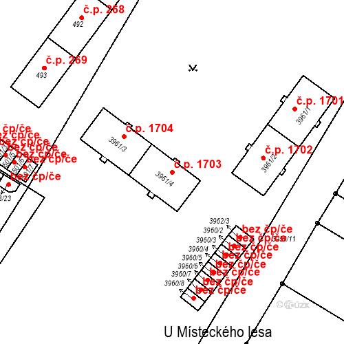 Katastrální mapa Stavební objekt Místek 1703, Frýdek-Místek