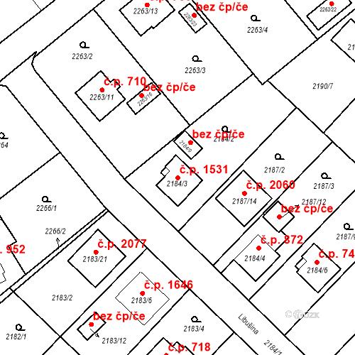Katastrální mapa Stavební objekt Místek 1531, Frýdek-Místek