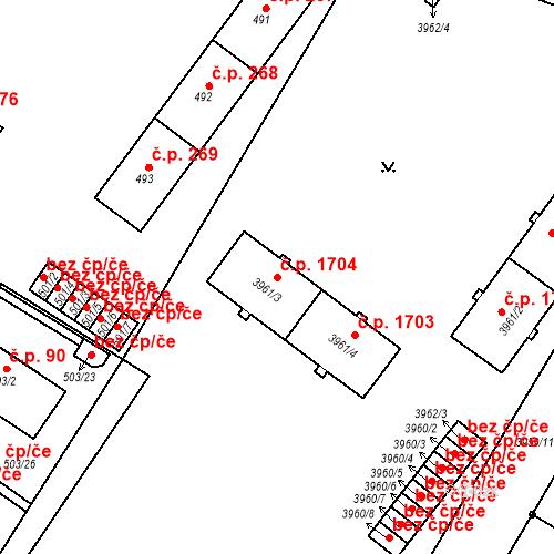 Katastrální mapa Stavební objekt Místek 1704, Frýdek-Místek