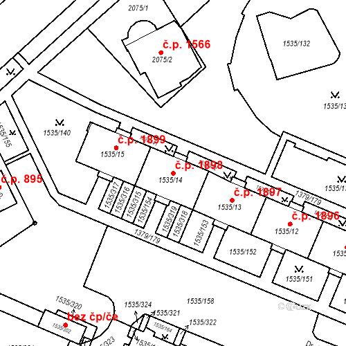 Katastrální mapa Stavební objekt Místek 1898, Frýdek-Místek