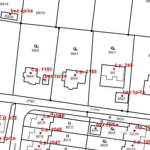 Katastrální mapa Stavební objekt Vratimov 1185, Vratimov