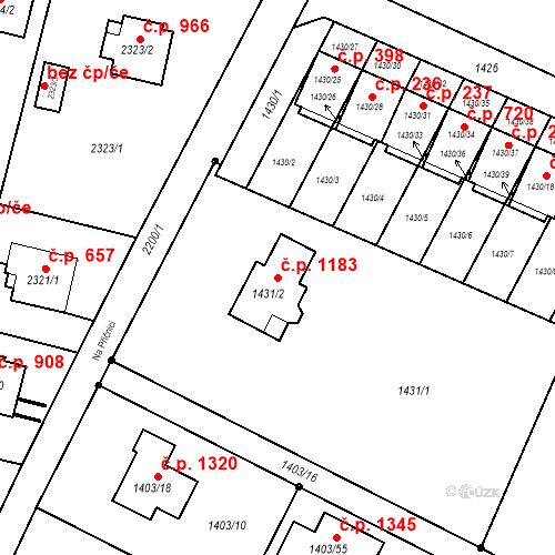 Katastrální mapa Stavební objekt Vratimov 1183, Vratimov