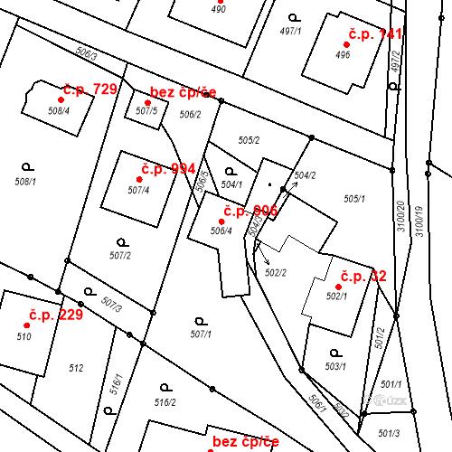 Katastrální mapa Stavební objekt Palkovice 906, Palkovice