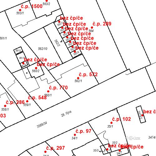 Katastrální mapa Stavební objekt Moravská Ostrava 572, Ostrava