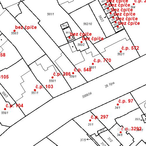 Katastrální mapa Stavební objekt Moravská Ostrava 548, Ostrava