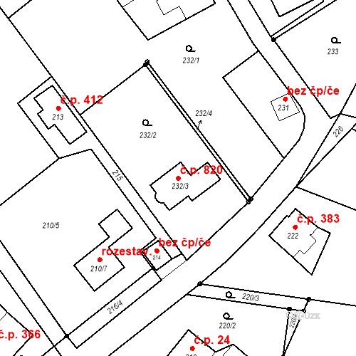 Katastrální mapa Stavební objekt Palkovice 820, Palkovice