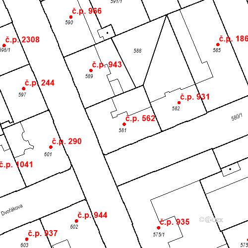 Katastrální mapa Stavební objekt Moravská Ostrava 562, Ostrava